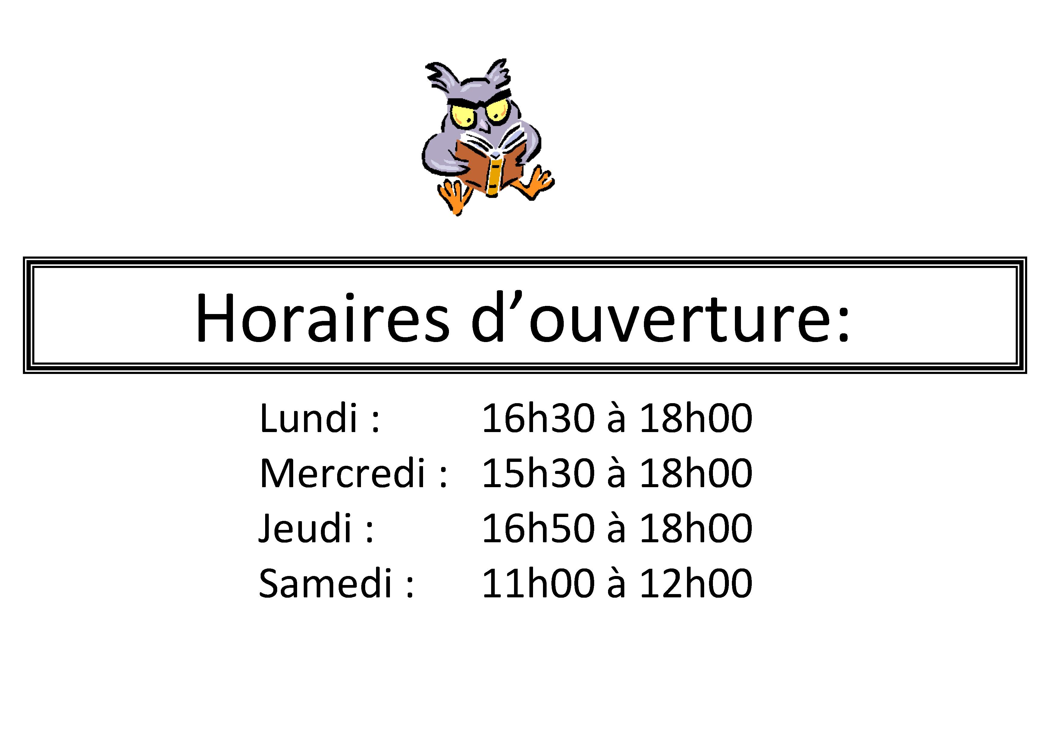 affiche horaires Bibliothèque