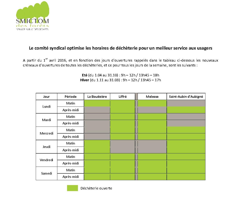 Changement des horaires des déchèteries - 1er avril 2016