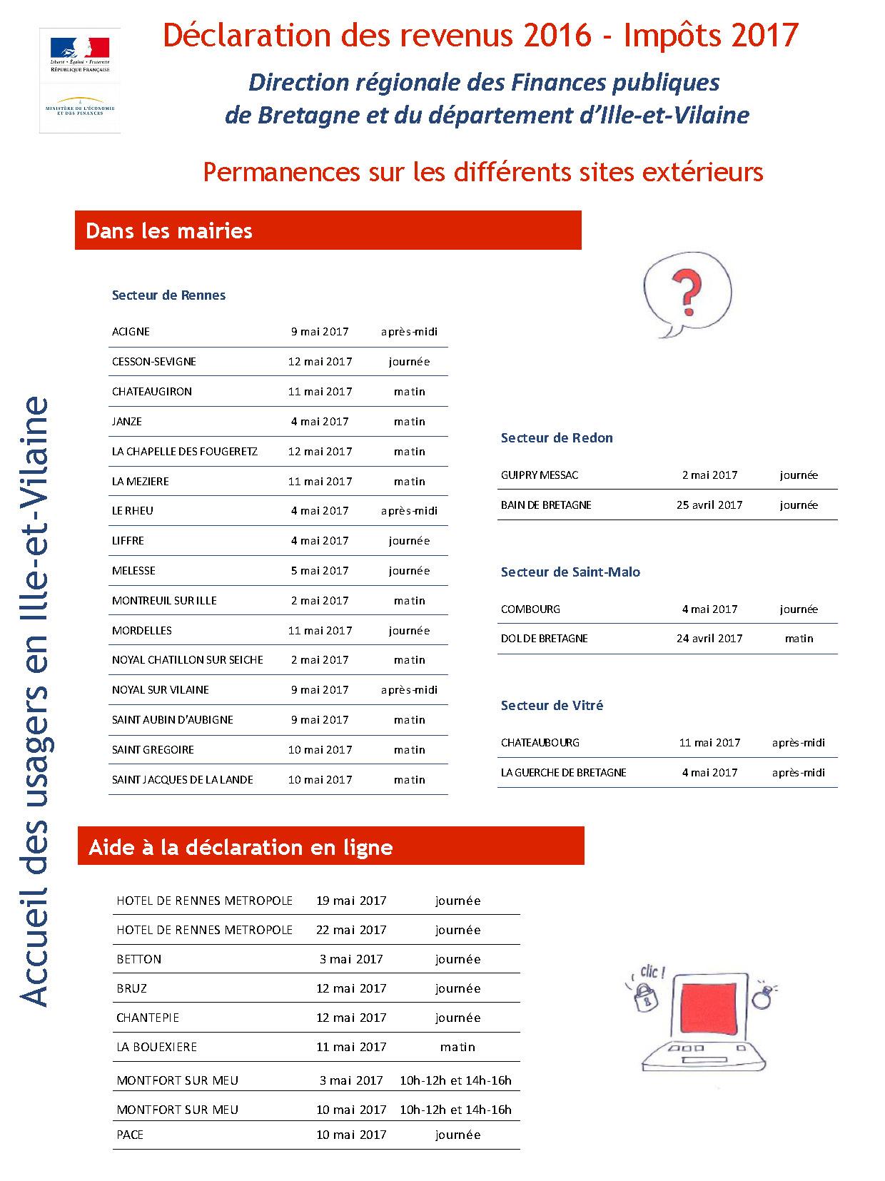 Permanences d claration des revenus imp ts 2017 saint - Declaration revenus location meuble de tourisme ...